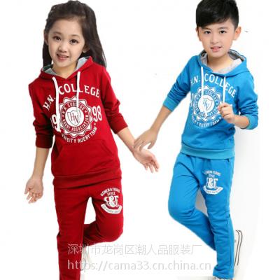 韩版新款纯棉童装套装 地摊批发儿童卫衣两件装