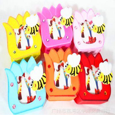 日韩卡通木质相框加动物造型夹子造彩色多功能笔筒创意新颖批发