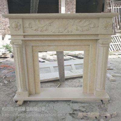 天然石材埃及米黄壁炉欧式石雕壁炉架别墅装饰