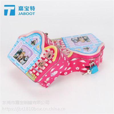 巧克力软果汁糖果铁盒儿童曲奇小饼干马口铁盒包装带锁零钱存钱罐