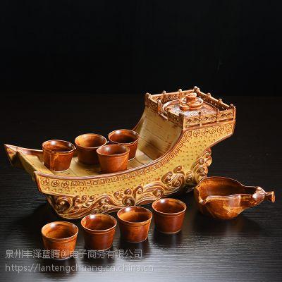 高级 自动茶具套装复古一帆风顺创意家用个性高档冲茶器茶具礼品