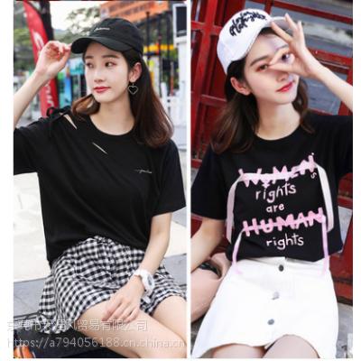 便宜夏季纯棉T恤韩版时尚女装短袖纯棉大码T恤清货广州清低价清