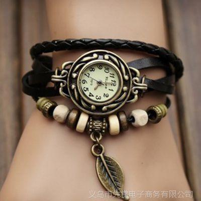 一件代发 速卖通外贸韩版复古树叶子吊坠真皮欧美手工编织手表