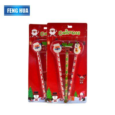 年末国外圣诞礼节文具铅笔 圣诞系列铅笔套装 带圣诞公仔头