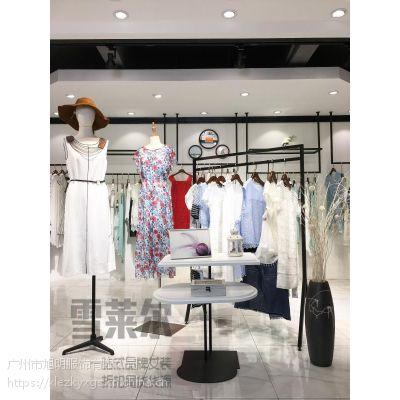 精品女装折扣永恒个性品牌棉麻连衣裙服装批发市场