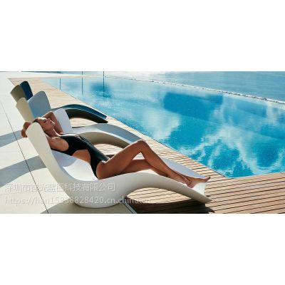 优创艺空间户外休闲沙滩椅 玻璃钢游泳池躺椅Y8510 广东玻璃钢休息椅