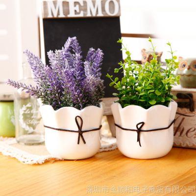 JSH创意家居仿真花塑料花假花薰衣草盆栽卧室寝室办公桌面装饰品