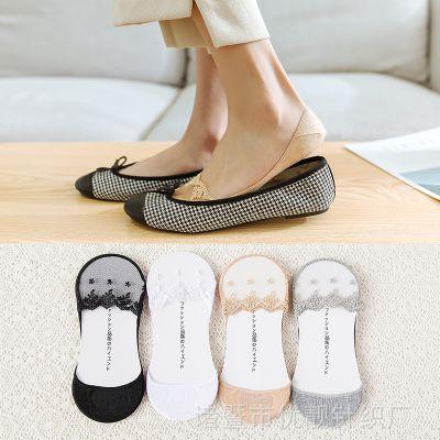 夏蕾丝船袜超薄款女士全隐形袜女浅口低帮短袜棉透明玻璃丝袜防滑