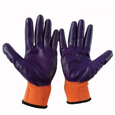 厂家直销橘纱紫丁腈挂胶劳保防护手套
