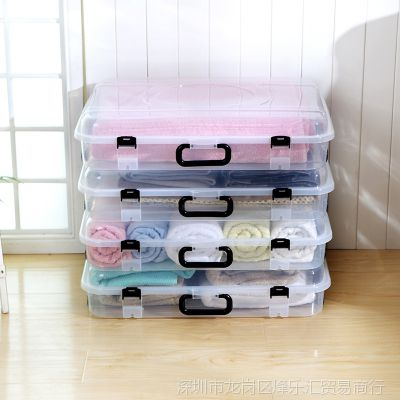 加厚扁平床底收纳箱抽屉式床下衣物整理箱滑轮储物箱透明有盖衣柜