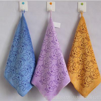 磊烁毛巾厂家直销超细纤维小方巾30*30磨毛印花兔头婴幼儿口水巾