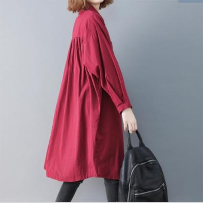 杭州潮流棉麻衬衫时尚中长款欧美韩版大版品牌女装走份女装批发市场