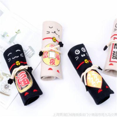 小马百货 新款文具批发 苏迈招财猫系列卷笔袋