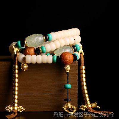 一件代发天然白菩提手串 白菩提根 108颗藏式佛珠手链原创【藏韵