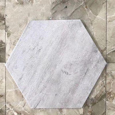【帼首陶瓷】广东六边形木纹砖520x600仿古木纹砖