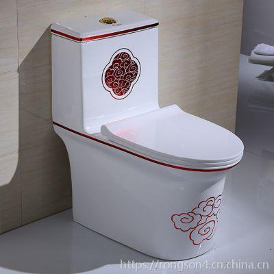 连体式新款金红色彩金卫浴马桶虹吸式座便器坐厕