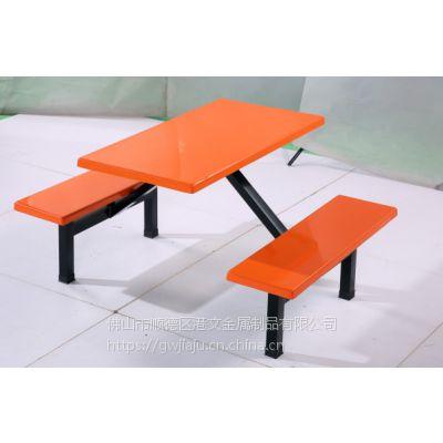 港文工厂简约现代员工餐厅,食堂餐桌, 连体,学校学生餐桌椅