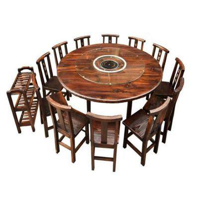 桌椅-实木碳化家具-饭店餐桌椅