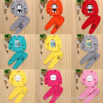 包邮特价儿童纯棉两件套装 韩版春秋款印花卡通米奇宝宝套装批发