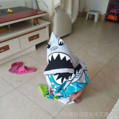 儿童可穿浴巾披风帽子加大可爱卡通卡通动物多款大鲨鱼女童浴衣