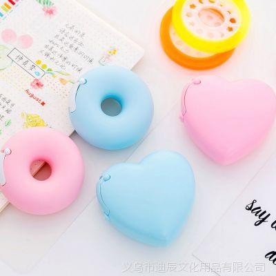 韩国创意卡通文具 便携甜甜圈胶带座 隐形胶带切割器 内附小胶带