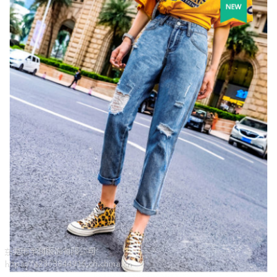 5元便宜女士牛仔裤韩版时尚便宜九分裤破洞牛仔裤清货低价清