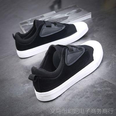欢跃帆布鞋男2018夏季平底单鞋男式布鞋一脚蹬懒人休闲男鞋子1035
