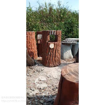 佛山汕头亿豪园林景观水泥混凝土仿树皮垃圾桶厂家批发