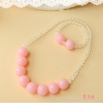 韩版儿童公主版彩珠批发可做拍摄拍照道具  两件套(项链+手链)