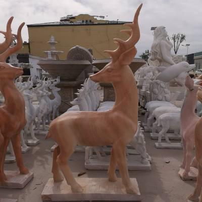 石雕小鹿大理石户外公园草坪动物装饰梅花母子石头鹿雕塑摆件曲阳万洋雕刻厂家定做