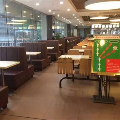 襄阳自选快餐店家具定做,时尚快餐厅卡座沙发桌椅案例