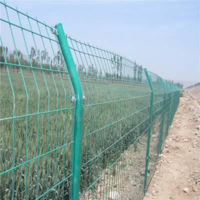 三折弯护栏网厂家 绿色 黄色 灰色桃型柱护栏-安平县优盾