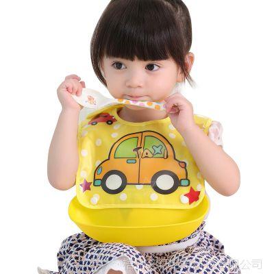 宝宝饭都兜衣硅胶大号防水幼儿园围嘴吃饭餐衣接饭兜儿童用餐围兜