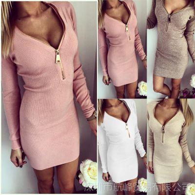 亚马逊ebay爆款连衣裙 紧身包臀螺纹v领拉链开胸保暖长袖连衣裙
