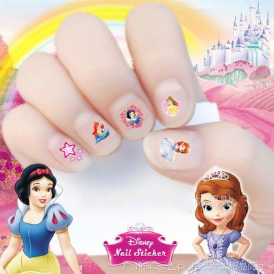冰雪奇缘苏菲亚公主米老鼠指甲贴纸维尼熊儿童卡通3D美甲贴纸
