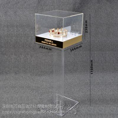 亚克力珠宝展示台化妆品展示展览架透明金色展柜陈列架橱窗展示台