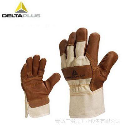 代尔塔204605拼接牛皮手套掌面拇指食指加强保护手套 耐磨防机械