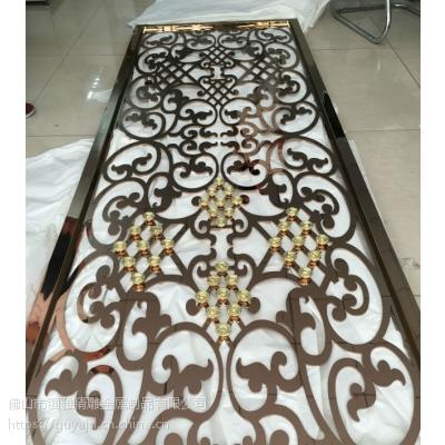 质量杠杠的拉丝钛金铝板雕花镂空花格屏风隔断