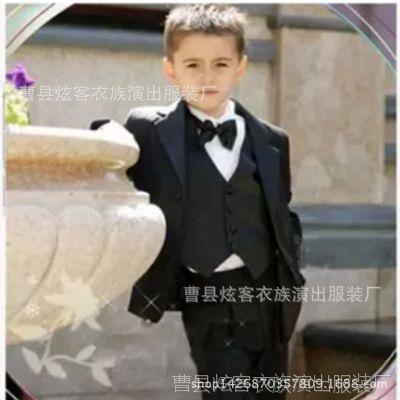男童西服 儿童舞台表演服 男花童礼服 黑色5件套演出服厂家批发