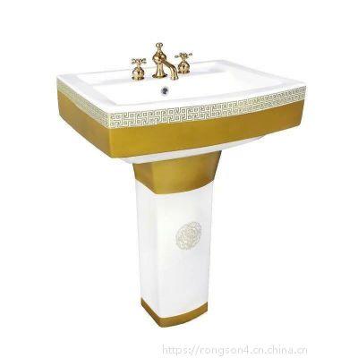 卫生盆金色彩金分体欧式陶瓷立式洗手柱盆