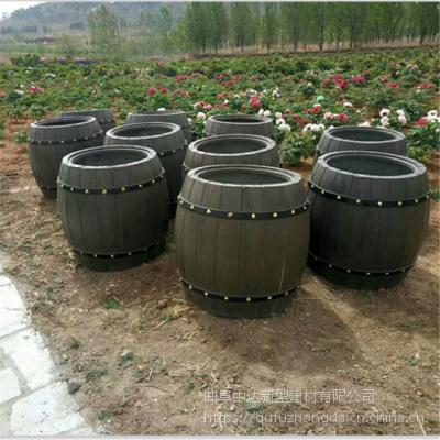 安徽水泥仿木花箱花桶厂家 道路专用防腐水泥仿木组合花箱