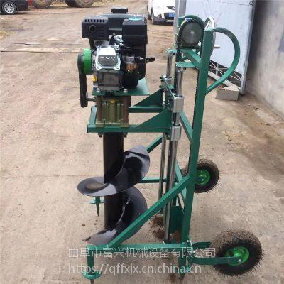 土壤地钻挖坑机 栽桩施肥高速打坑机 带轮手推式果园施肥打眼机价格