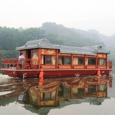 专业厂家定制8米钢制画舫木船 铁质游船 观光木船