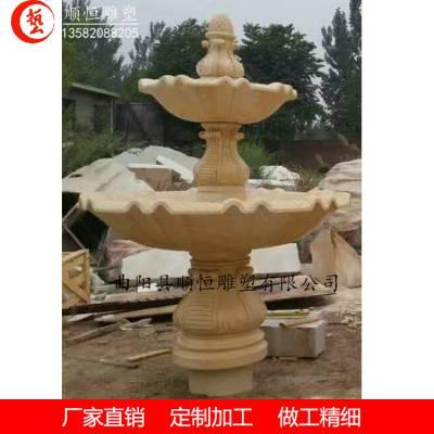 埃及米黄石雕水钵大理石石雕喷泉水景跌水钵厂家定制