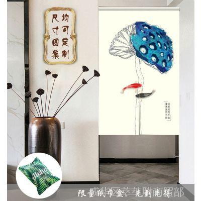中式书房布艺厨房防油烟门帘艺术风水帘子装饰屏风厕所书房隔断帘