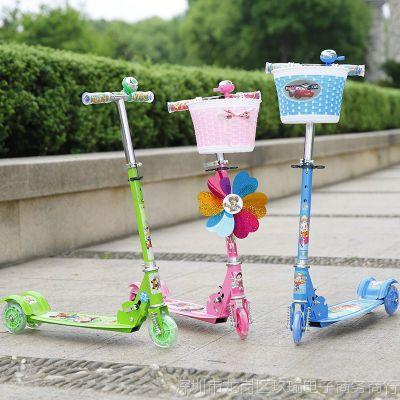 加宽男孩单脚儿童滑板车手扶闪光小型滑滑划板女孩2-3-4-5-6-10岁