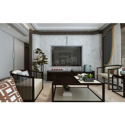 龙湖江与城装修,花园洋房平层新中式风格设计方案_天古装饰设计师