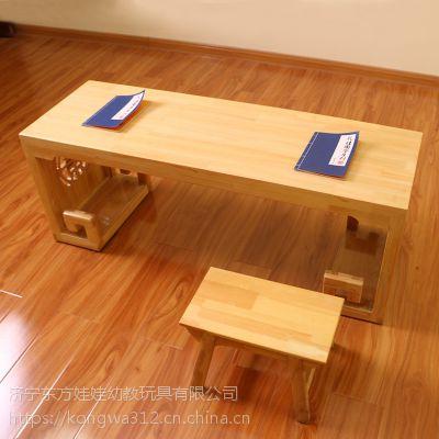 热销实木平面书法桌 安徽幼儿园国学桌 棕红色双人国学桌 池州仿古书法桌