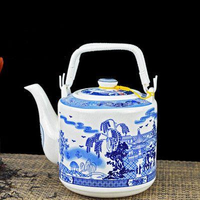 传统老式大号冷凉水壶 景德镇陶瓷青花提梁壶 饭店耐热泡茶单壶