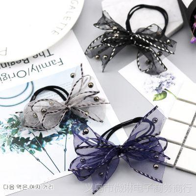 韩国新款淑女网纱蝴蝶结发圈 枪黑圆珠头绳 多层流行甜美发绳